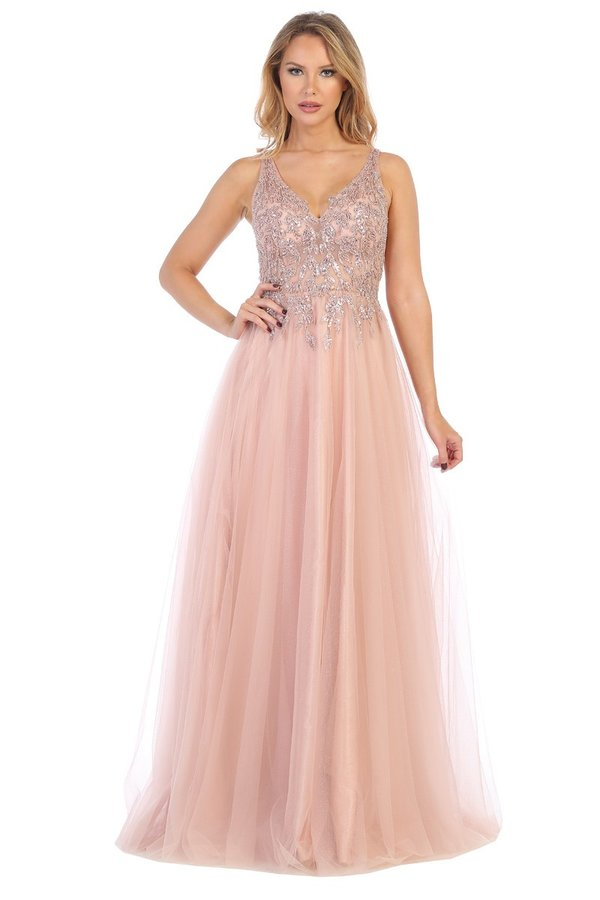 Let's Fashion LF 7638L - A-line prom gown with floral embellished bodice & tulle skirt. - Diggz Prom