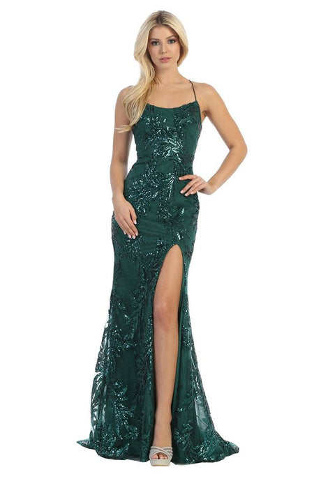LF 7648 - Sequin Printed Fit & Flare with Bateau Neck Open Lace Up Corset Back & Leg Slit - Diggz Prom
