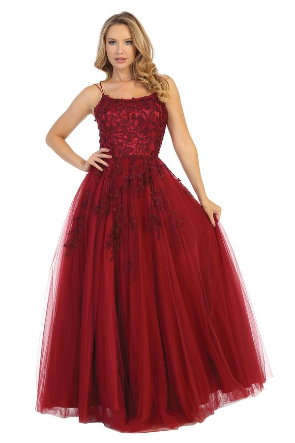 Lets Size Chart C LF 7653 - A-Line Prom Gown with Embellished Bodice Spaghetti Straps & Lace Up Corset Back - Diggz Prom