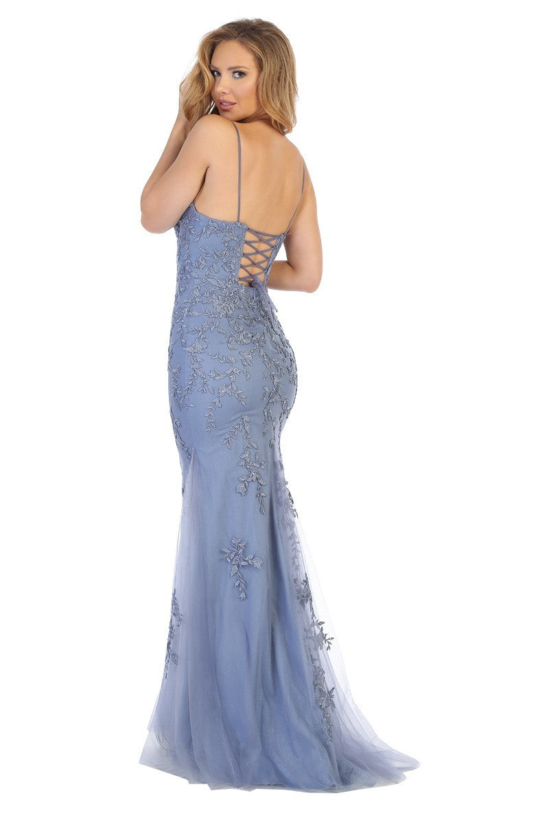LF 7656 - Bateau Neck Fit & Flare Prom Gown with 3D Floral Applique & Open Corset Back - Diggz Prom