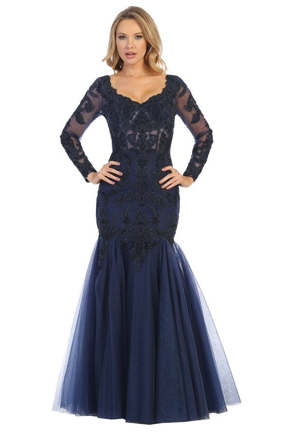 Lets Size Chart C LF 7658 - Long Sleeve Off the Shoulder Mermaid with Embellished Corset Bodice & Tulle Skirt - Diggz Prom