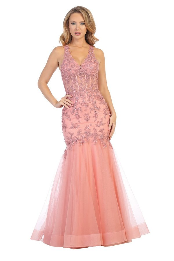 Lets Size Chart C LF 7660 - Fit & Flare Gown with Tulle Skirt Open Back & Sheer Corset Bodice - Diggz Prom