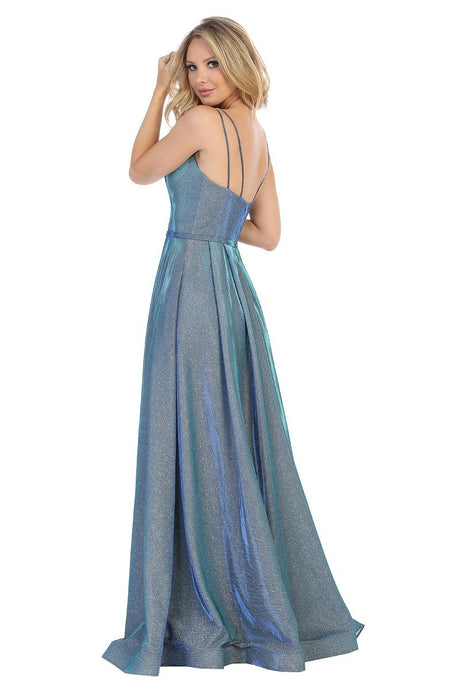 LF 7514 - Metallic A-Line Ball Gown with Sweetheart Neckline and Spaghetti Straps