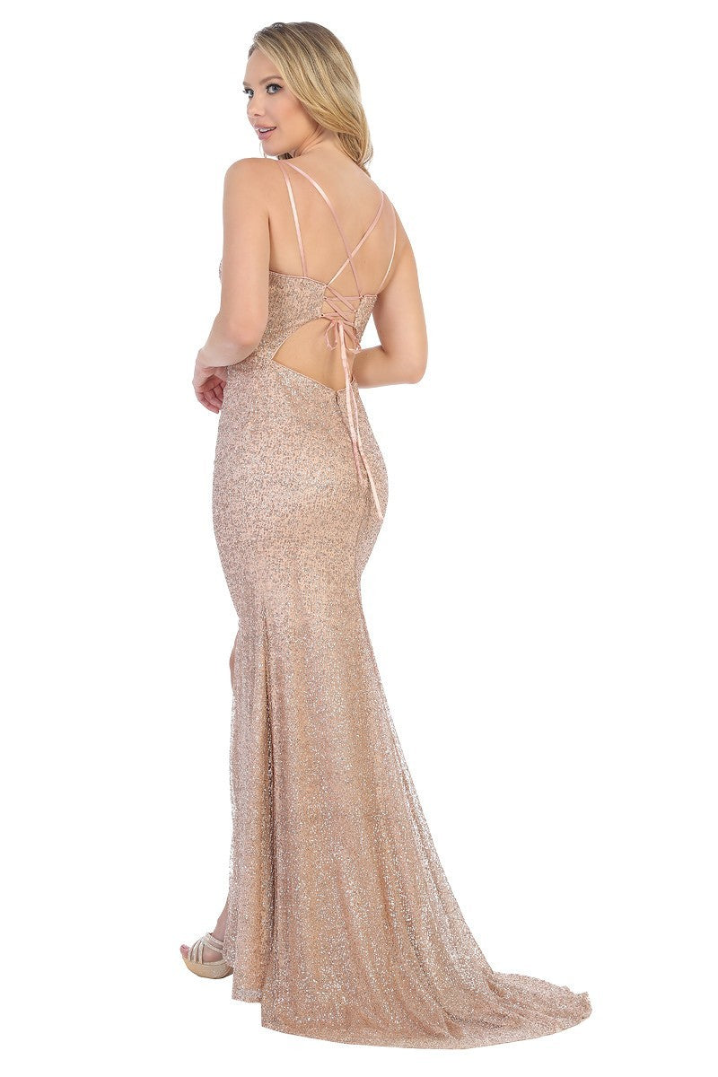LF 7519 - Glitter Metallic Fit & Flare with V-Neck Gathered Front & Lace Up Corset Back - Diggz Prom