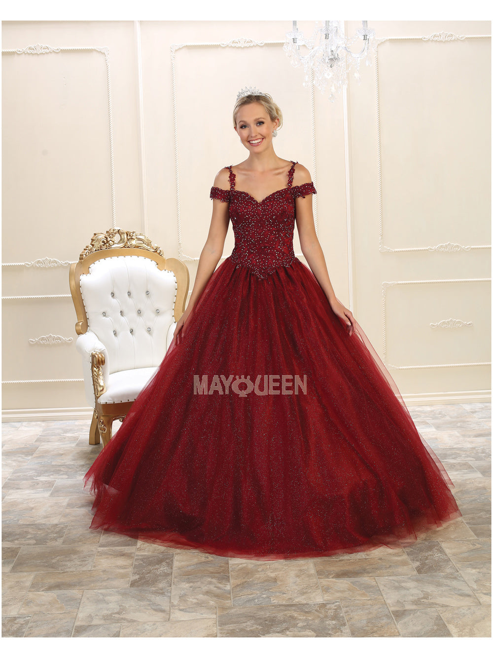 Mayqueen Size Chart E MQ LK101 - Off The Shoulder Tulle Ball Gown with Corset Back - Diggz Prom