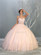 MQ LK141  - A-Line Quinceanera Dress with Floral Lace Corset Bodice & Sweet heart Neck