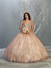 MQ LK142 - A Line Quinceanera Dress with Glitter Design & Off the Shoulder Straps