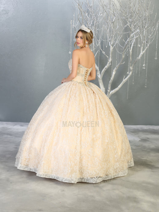 MQ LK144 - A Line Quinceanera Gown with Lace Overlay & Corset Back