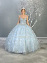 MQ LK145 - A Line Quinceanera Gown with Full Glitter Embellished Design & Double Beaded Straps