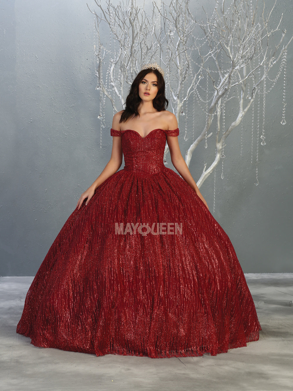 MQ LK146 - Off the Shoulder Quinceanera Gown with Glitter Design & Corset Back