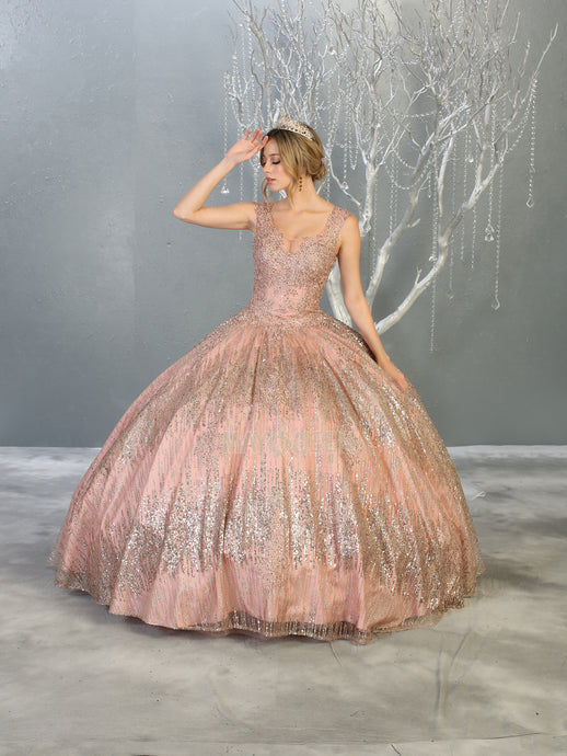 MQ LK147 - A Line Quinceanera Gown with Glitter Design Skirt & Embellished Bodice