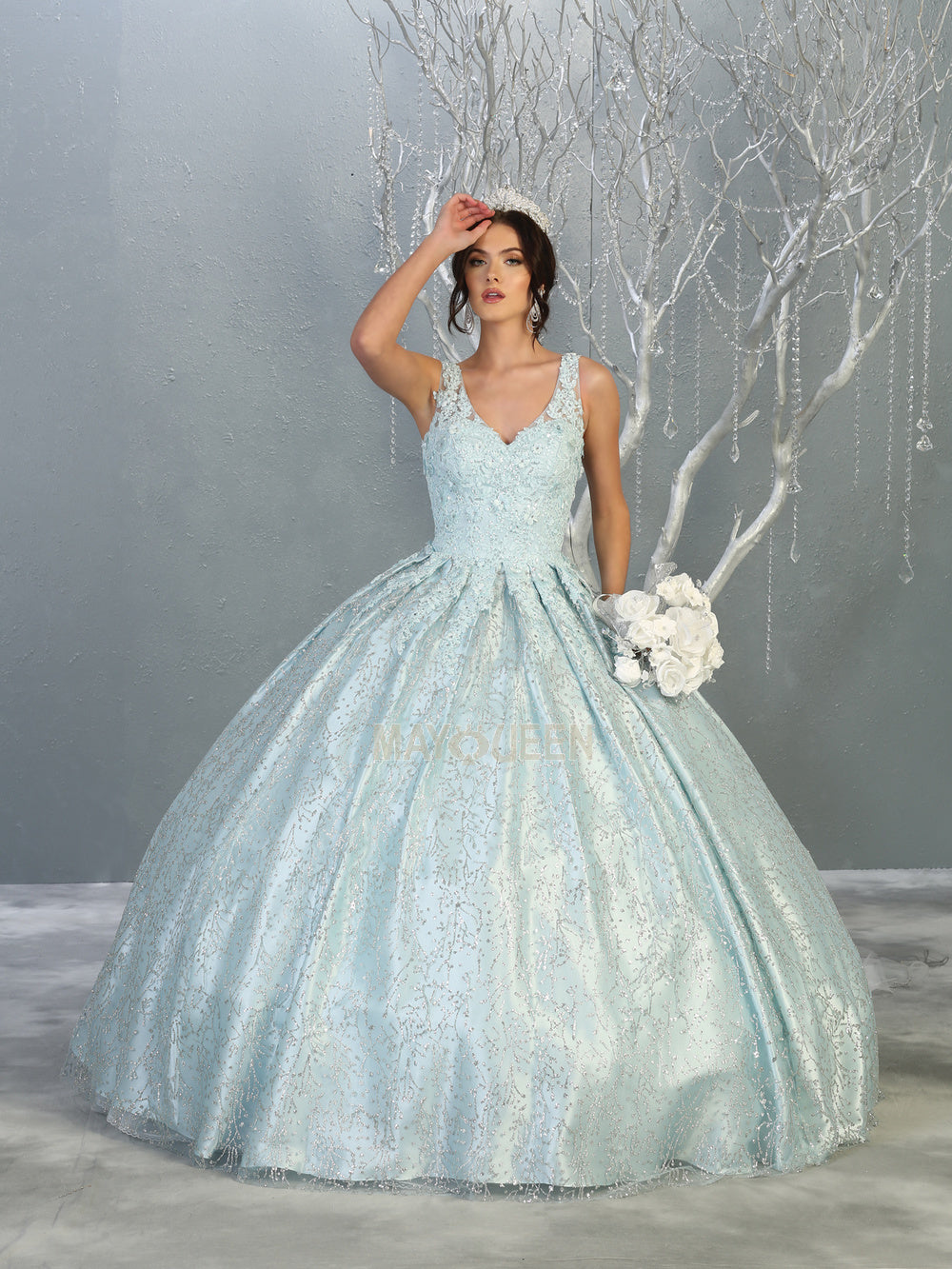 MQ LK149 - A Line Quinceanera Gown with Floral Applique Bodice & Glitter Print Skirt