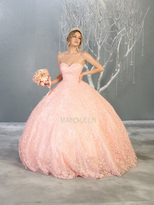 MQ LK150 - A Line Quinceanera Gown with Floral Sequin Applique & Sweetheart Neckline