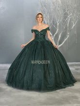 MQ LK151 - Off the Shoulder Quinceanera Gown Beaded Bodice & Glitter Skirt - Diggz Prom