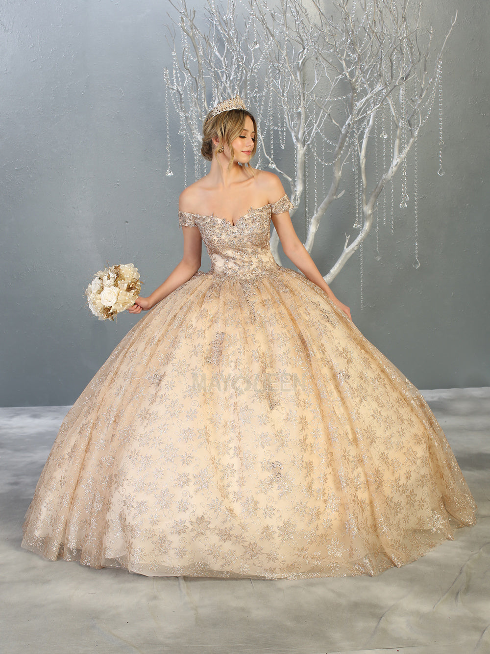 MQ LK152 - Off the Shoulder Quinceanera Gown with Floral Applique Bodice & Glitter Print Skirt - Diggz Prom