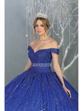 MQ LK153 - Off the Shoulder Quinceanera Gown Embroidered Bodice and Glitter Design
