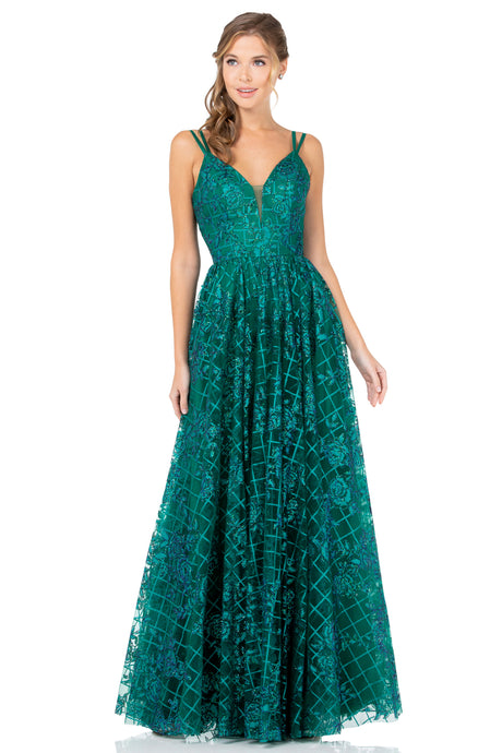 Diggz Prom BC MD9152 - A-Line Glitter Pattern Gown with Double Strap and Mesh V-Neck - Diggz Prom