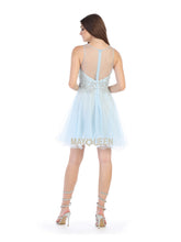 MQ 1584 - High Neck Beaded Bodice A-Line Short Dress with Tulle skirt - Diggz Prom