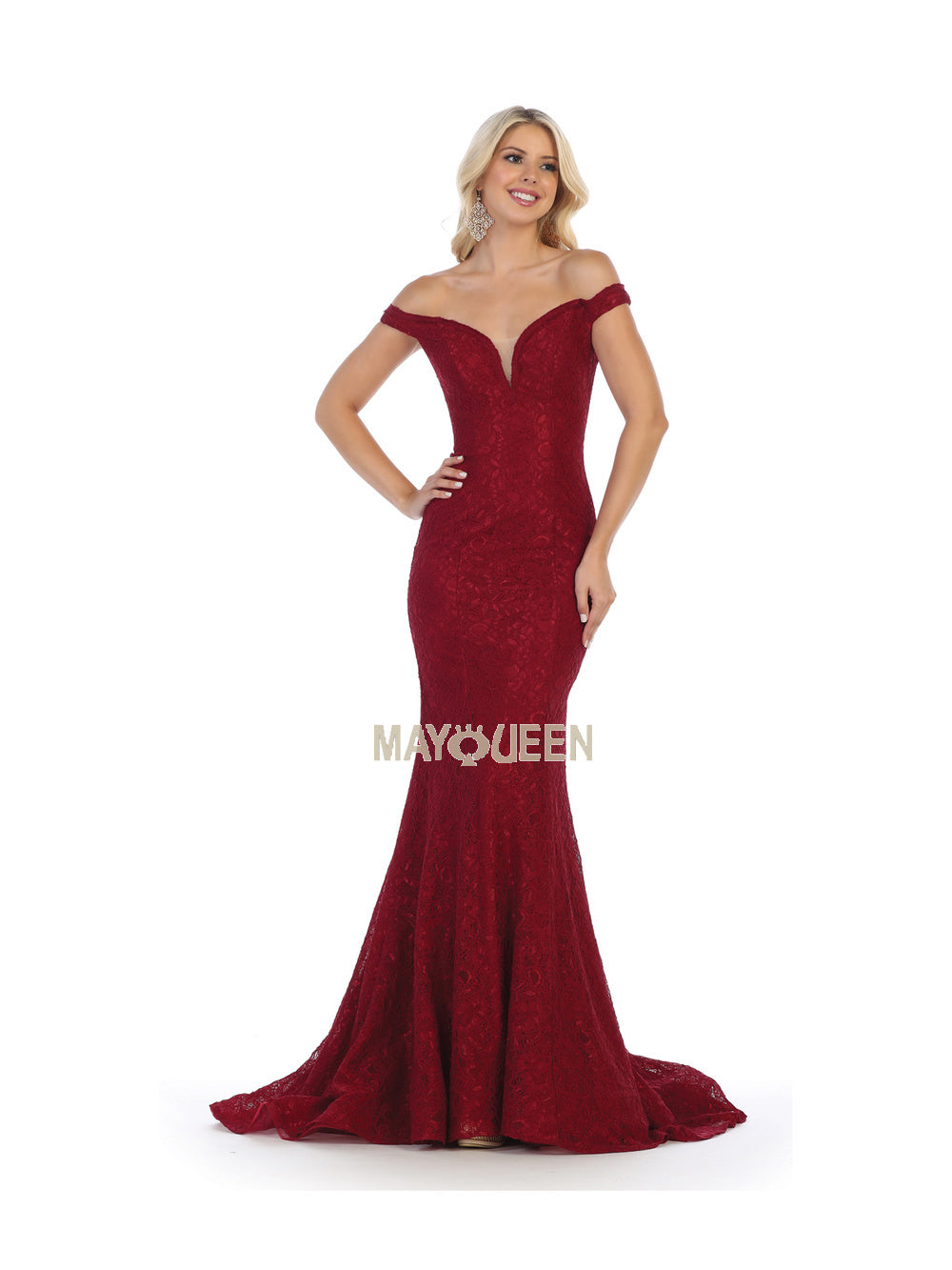 Mayqueen Size Chart E MQ 1596 - Off the Shoulder Lace Mermaid Gown with Corset Back - Diggz Prom