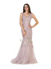 Mayqueen Size Chart E MQ 1598 - Embroidered V-Neck Fit & Flare Gown with Corset Back and Train - Diggz Prom