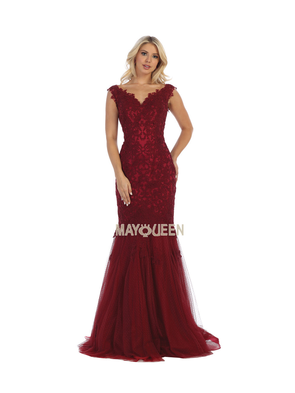 MQ 1598 - Embroidered V-Neck Fit & Flare Gown with Corset Back and Train - Diggz Prom