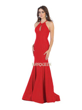 Mayqueen Size Chart E MQ 1603 - Jersey Fit & Flare Prom Gown with High Neck Strappy Back & Train - Diggz Prom