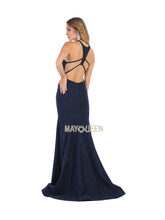 MQ 1603 - Jersey Fit & Flare Prom Gown with High Neck Strappy Back & Train - Diggz Prom
