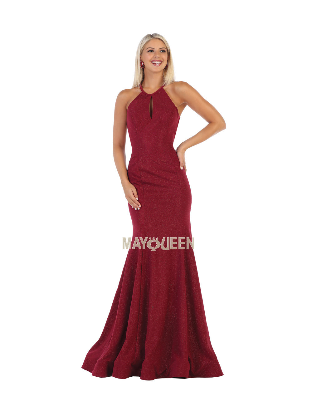 Mayqueen Size Chart E MQ 1603 - Fit & Flare Prom Gown with High Neck Strappy Back & Train - Diggz Prom