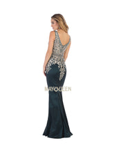 MQ 1608 -Embellished Fit & Flare with Plunging V Neck and Train - Diggz Prom