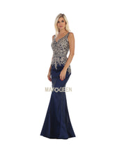 Mayqueen Size Chart E MQ 1608 -Embellished Fit & Flare with Plunging V Neck and Train - Diggz Prom