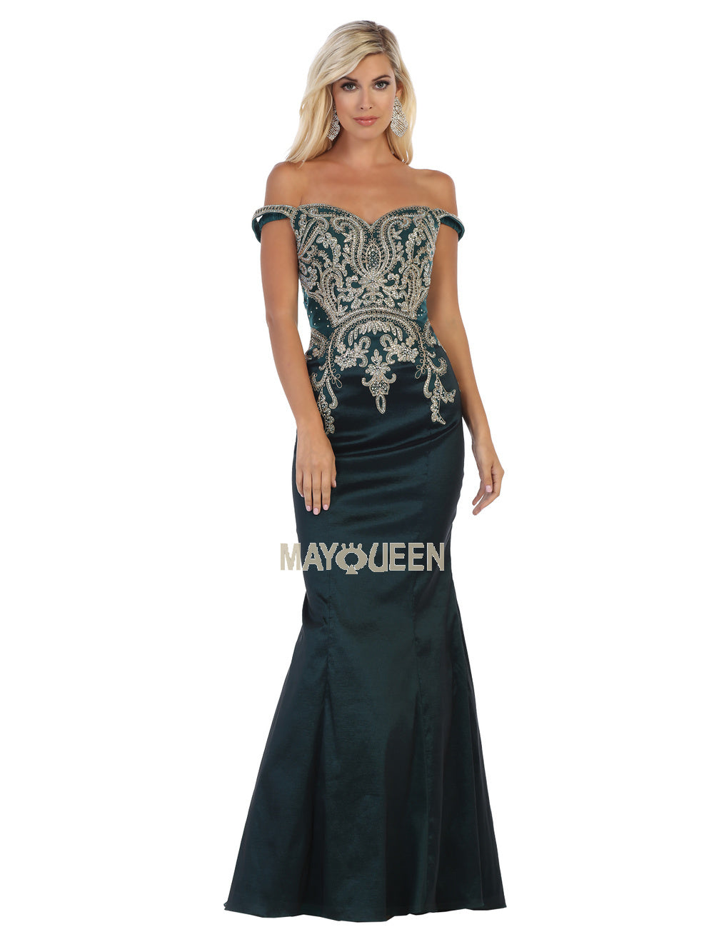 MQ 1609 - Embellished Off-the-Shoulder Mermaid with Sweetheart Neck & Train - Diggz Prom