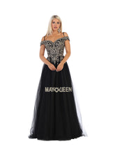 Mayqueen Size Chart E MQ 1626 - Embroidered Off-the-Shoulder A-Line with Tulle Skirt - Diggz Prom