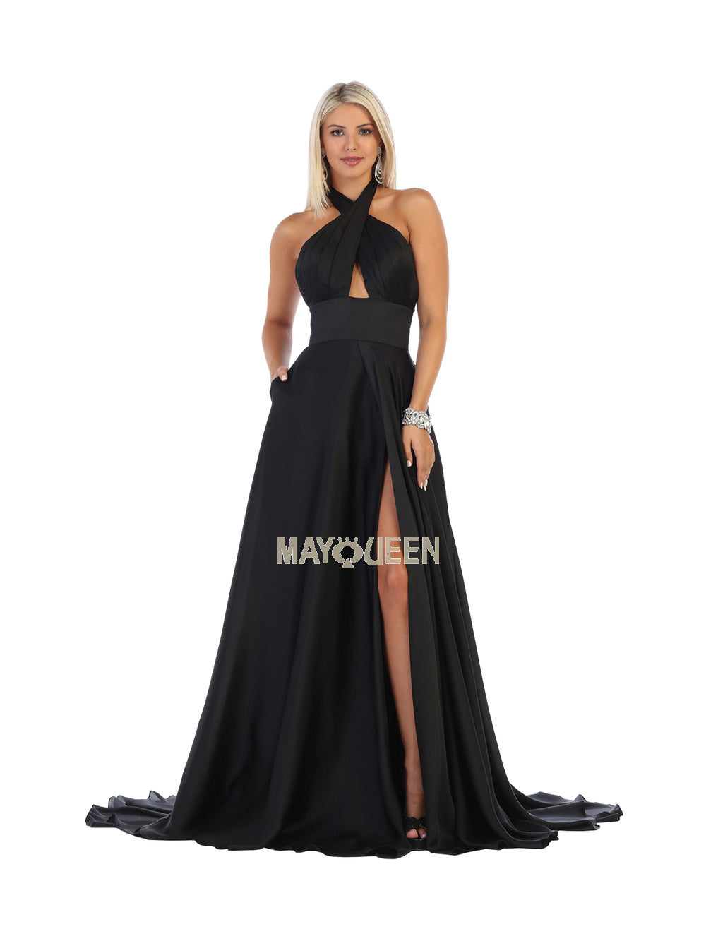 Mayqueen Size Chart E MQ 1631 - Criss-Cross Wrap Halter Gown with Satin Skirt & Slit - Diggz Prom