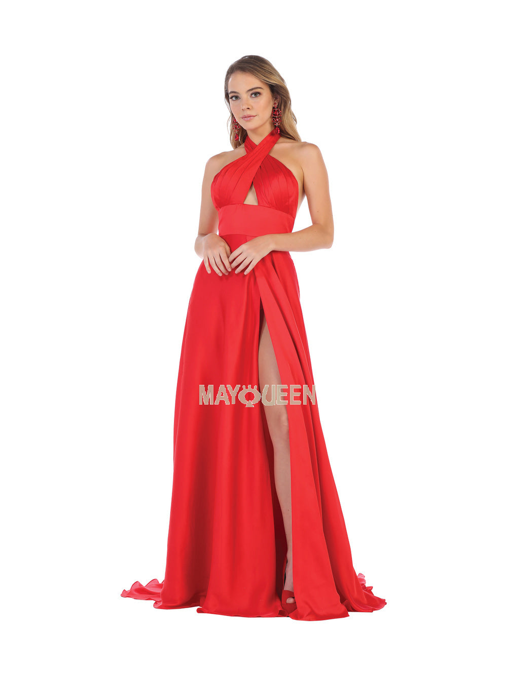 afb64622fabc Mayqueen Size Chart E MQ 1631 - Criss-Cross Wrap Halter Gown with Satin  Skirt .