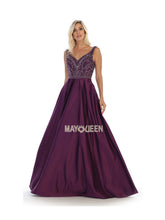 MQ 1632 - A-Line Beaded Bodice Ballgown with Sweetheart Neck Satin Skirt & Pockets - Diggz Prom