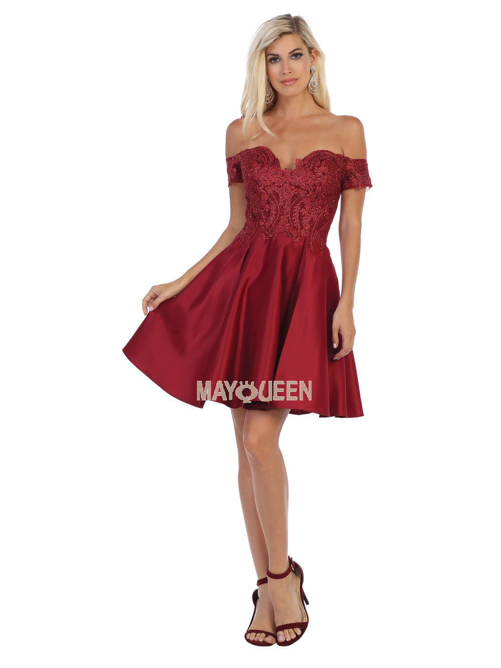 Mayqueen Size Chart E MQ 1634 - Off the Shoulder Embellished Bodice Satin Homecoming Dress with Pockets - Diggz Prom