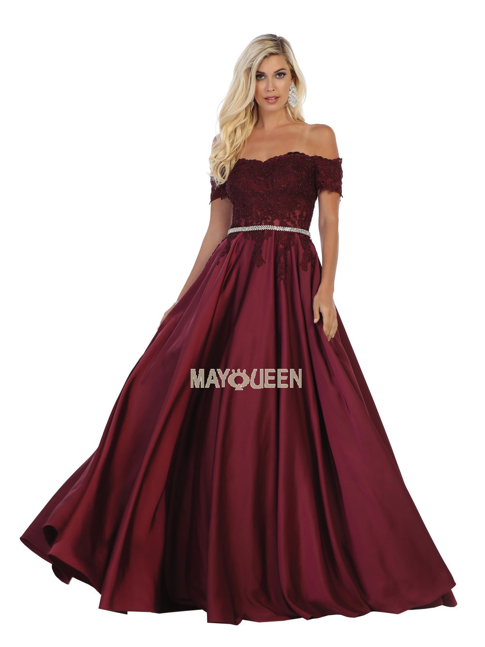 MQ 1639 - Off-the-Shoulder Satin A-Line Ballgown with Pockets & crystal Belt - Diggz Prom