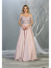 Mayqueen Size Chart E MQ 1734 - Off the shoulder a-line prom gown with beaded, lace and mesh bodice. - Diggz Prom