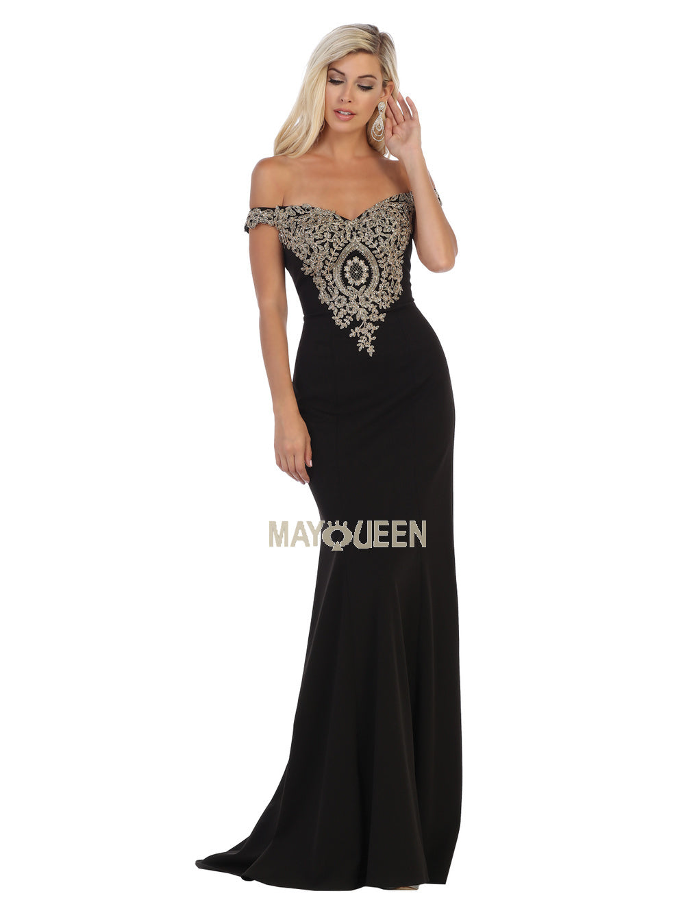 MQ 1640 - Beaded Lace Applique Off-the-Shoulder Fit & Flare with Beaded Lace Train - Diggz Prom
