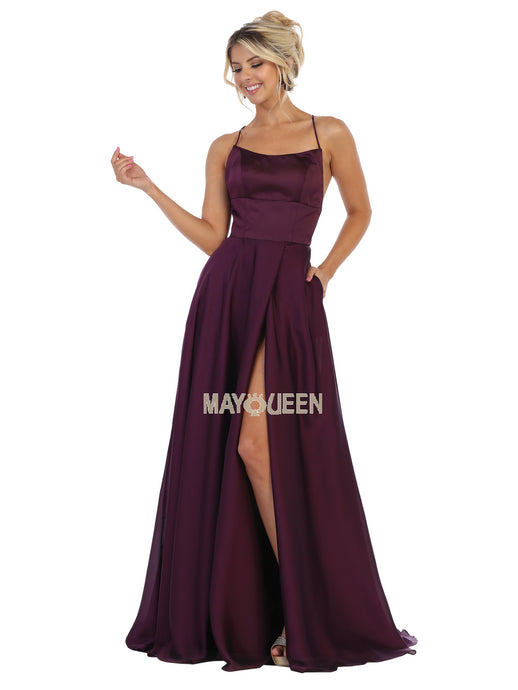 MQ 1642 - Satin A-Line Prom Gown with Bateau Neck Open Lace Up Corset Back & Leg Slit - Diggz Prom