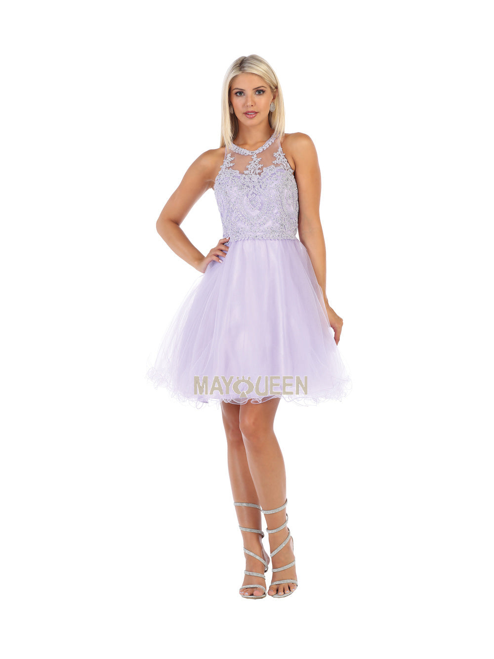 Mayqueen Size Chart E MQ 1643 - Lace-Applique High-Neck with Tulle Skirt Homecoming Dress - Diggz Prom