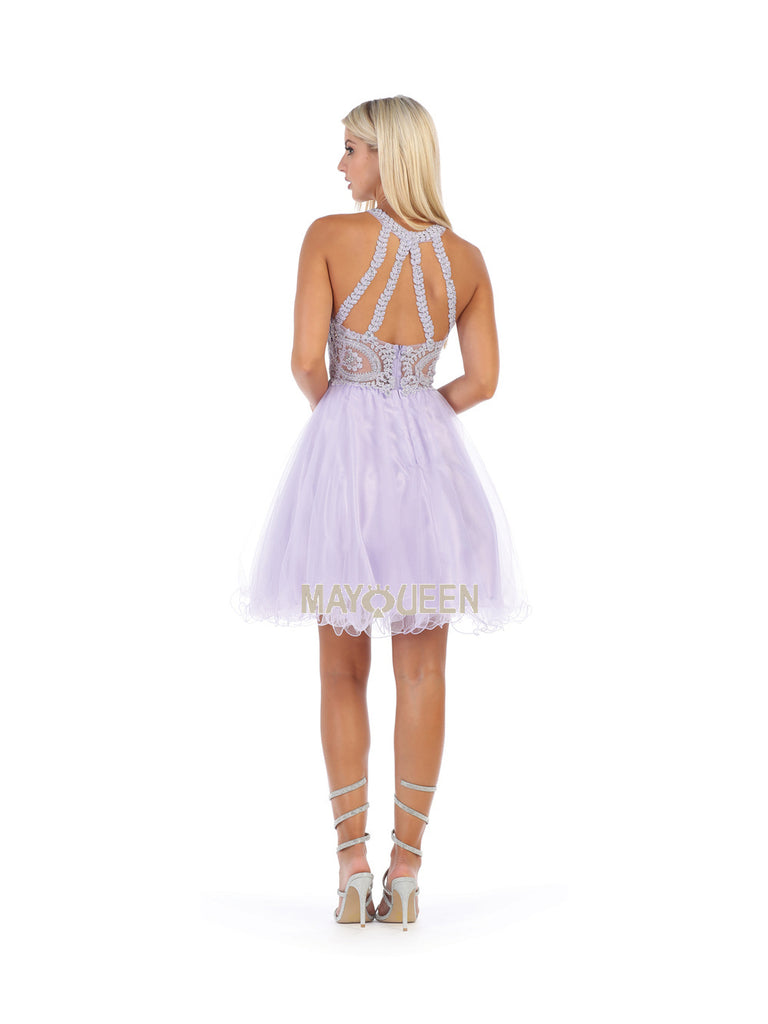 finest selection 7236c 467ed MQ 1643 - Lace-Applique High-Neck with Tulle Skirt Homecoming Dress
