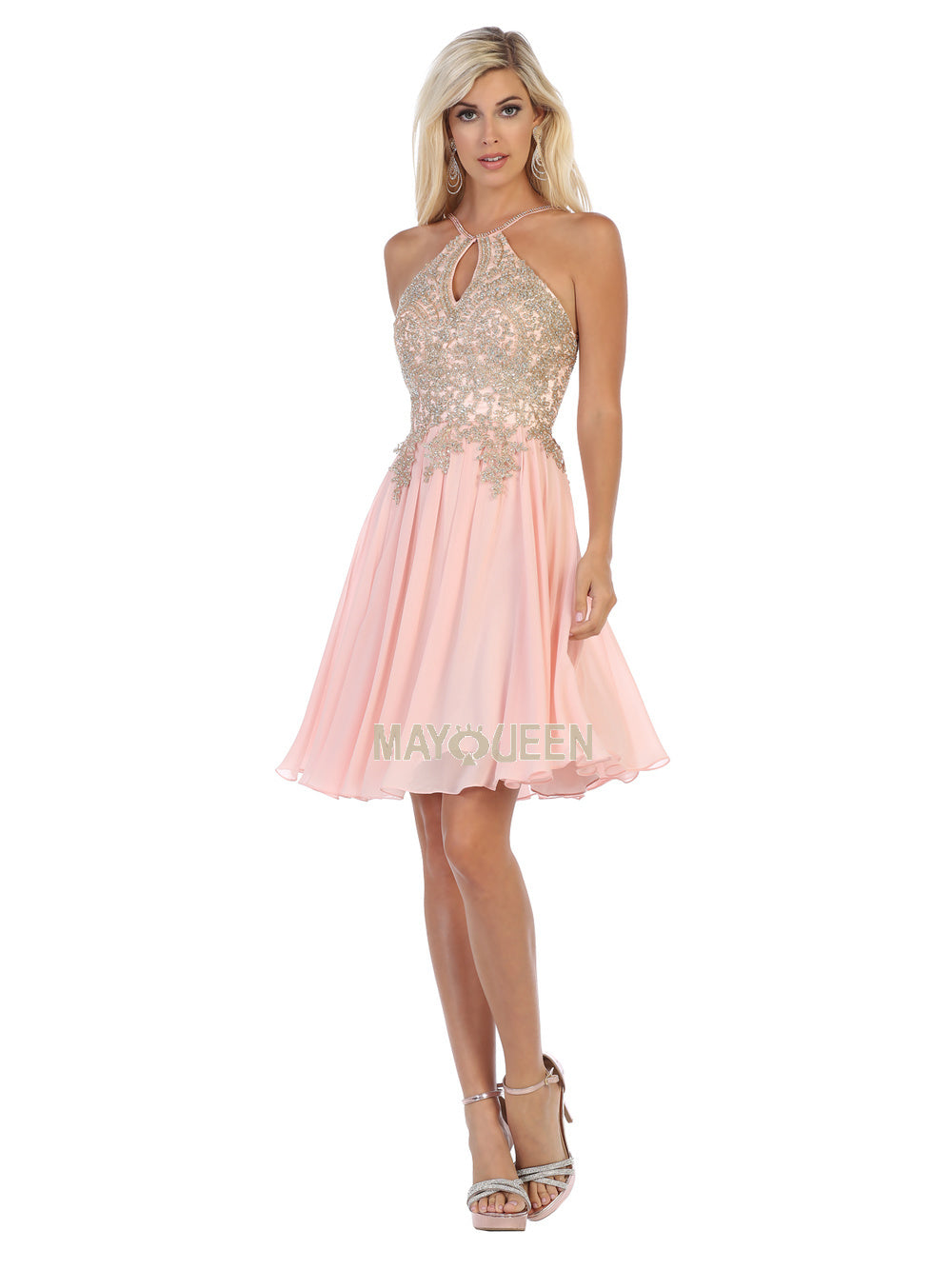 Mayqueen Size Chart E MQ 1646 - High Neck Embellished Bodice Short Chiffon Skirt - Diggz Prom