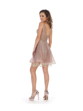 MQ 1653 - Glittery A-Line Dress with V-Neck & Rhinestone Embellished Accents - Diggz Prom