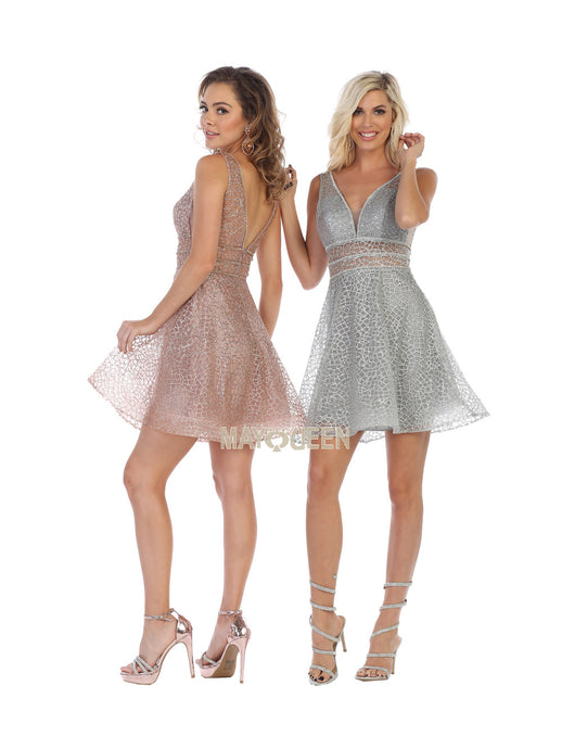Mayqueen Size Chart E MQ 1653 - Short Glitter Mesh V-Neck Homecoming Dress - Diggz Prom