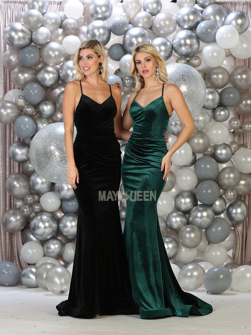 MQ 1656 - Velvet Fit & Flare V-Neck Prom Gown with Waist Ruching & Open Back - Diggz Prom