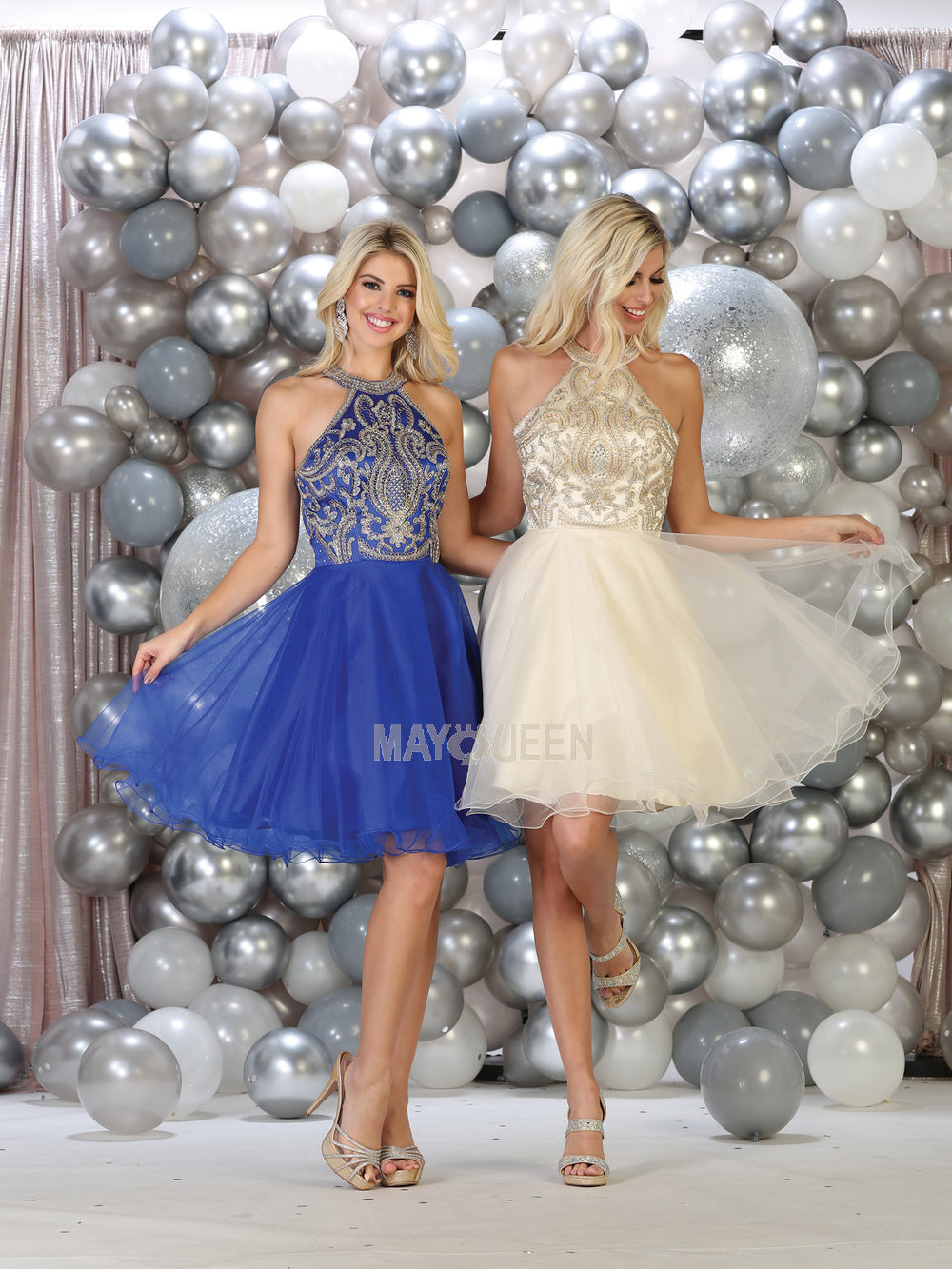 Mayqueen Size Chart E MQ 1657 - A-Line Halter Embroidered Short Tulle Skirt Homecoming Dress - Diggz Prom