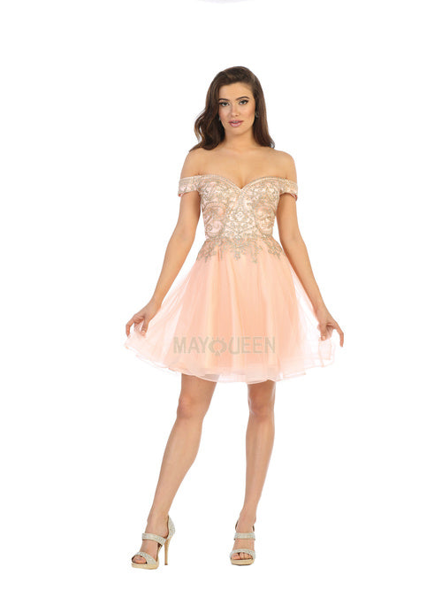 Mayqueen Size Chart E MQ 1659 - Off the Shoulder A-Line Short Homecoming Dress With Organza Skirt - Diggz Prom