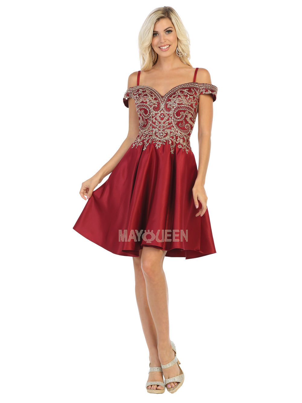 Mayqueen Size Chart E MQ 1661 - Cold Shoulder Satin Short Homecoming Dress with Embroidered Bodice - Diggz Prom