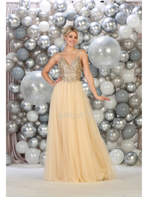 Mayqueen Size Chart E MQ 1669 - V-Neck Beaded Sequin-Top Long Prom Gown with Tulle Skirt - Diggz Prom